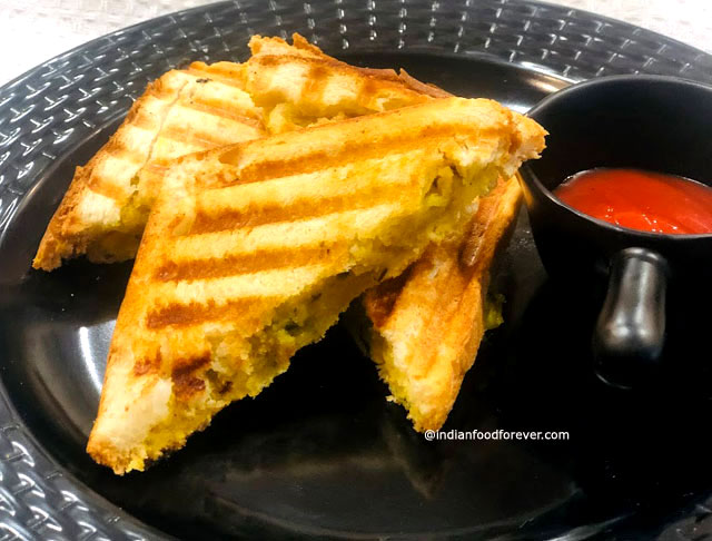 Indian Style Aloo Masala Grilled Sandwich Mashed Potato Masala Sandwich Recipe