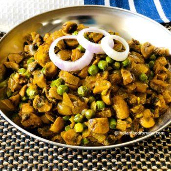 Matar Mushroom Ki Sukhi Sabji