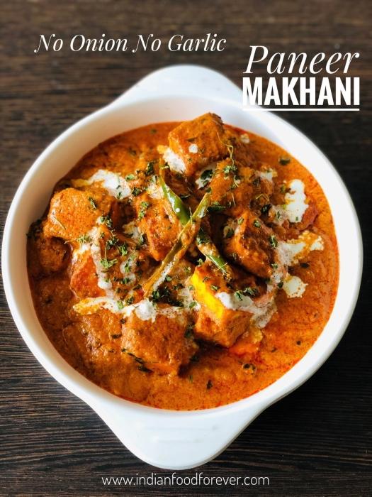 Paneer Makhani No Onion Garlic